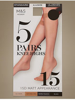 M&S Collection 5 Pair Pack 15 Denier Matt Knee Highs