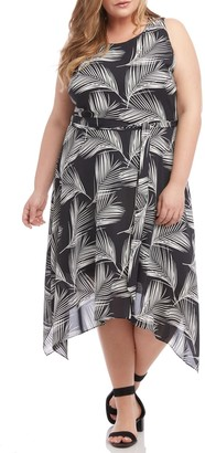 Karen Kane Handkerchief Hem Palm Print Crepe Dress (Plus Size)