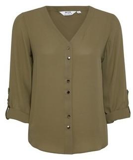 Dorothy Perkins Womens Dp Petite Khaki Roll Sleeve Shirt, Khaki