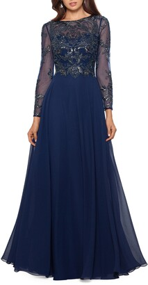 Xscape Evenings Long Sleeve Beaded Chiffon Gown