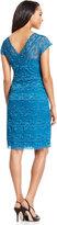 Marina Cap-Sleeve Lace Dress