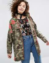 House of Holland Camo Jacket With Floral Embroidery