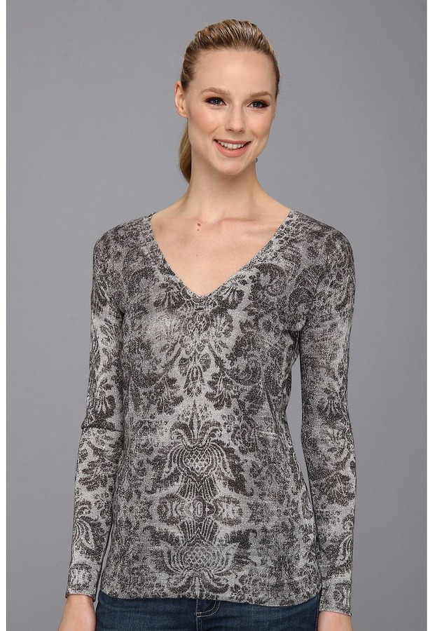Vince Camuto V Neck Baroque Pullover (Light Heather Grey) - Apparel