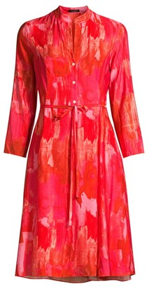 Josie Natori Abstract Flare Shirtdress
