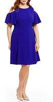 Eliza J Plus Cold-Shoulder Fit-and-Flare Dress