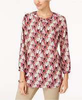 JM Collection Petite Printed Pleated-Back Top, Created for Macy's