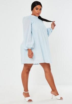 Missguided Plus Size Blue Shirred Smock Mini Dress