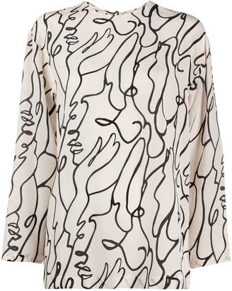 Alysi Abstract-Print Silk Blouse