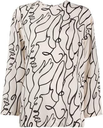 Alysi abstract-print silk blouse