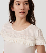 LOFT Pintucked Lace Ruffle Top