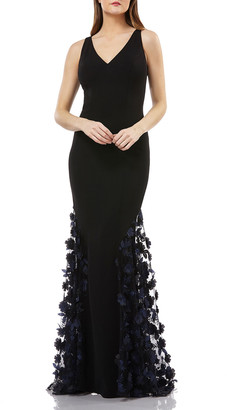 Carmen Marc Valvo Sleeveless Crepe Trumpet Gown with 3D Floral Mesh Detail