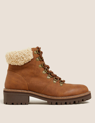 Marks and Spencer Hiker Borg Lined Block Heel Ankle Boots