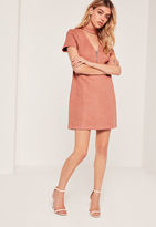 Missguided Faux Suede Choker Neck Zip Detail Dress Pink
