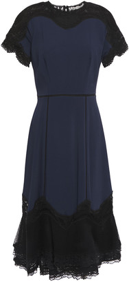 Jonathan Simkhai Flared Lace-paneled Crepe Dress