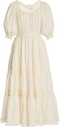 Ulla Johnson Colette Shirred Cotton Midi Dress
