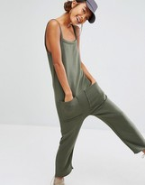 Daisy Street Jersey Jumpsuit With Raw Hem And Pockets
