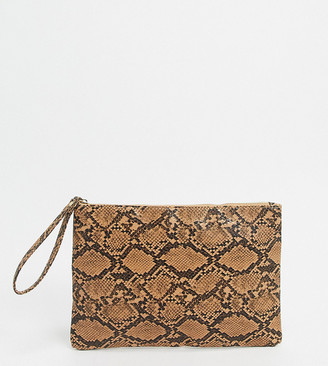 South Beach Exclusive snake effect pouch with wristlet
