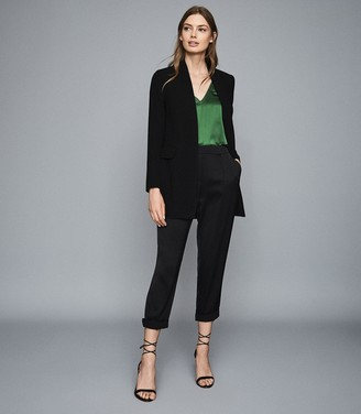 Reiss Darcia - V-neck Silk Front Vest in Green