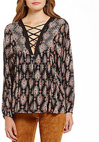 Sugar Lips Sugarlips Feather Print Lace-Up Top