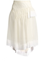 Simone Rocha Broderie-anglaise trimmed organza skirt