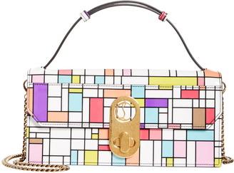Christian Louboutin Elisa Cube Print Patent Leather Baguette Bag