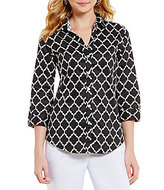 Allison Daley Petites Printed Stretch Sateen Shirting Button Front Blouse