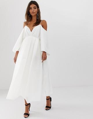 Asos Edition EDITION cross back midi dress in organza check-White