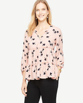 Ann Taylor Floral Tiered Ruffle Tie Neck Top