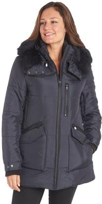 Fleet Street Women's Faux-Fur Hooded Heavyweight Puffer Jacket
