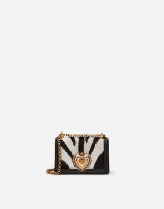 Dolce & Gabbana Devotion Micro Bag In Zebra-Print Pony Hair