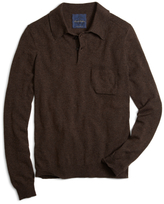 Brooks Brothers Brown Cashmere Knit Polo