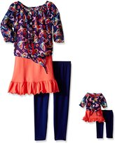 Dollie & Me Big Girls' Butterfly Chiffon Layered Tunic and Legging