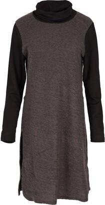 Fashion Star Womens Knitted Jumper Cowl Neck Long Sleeve Contrast Neck Side Slit Dress S/M (UK 8/10) Mustard