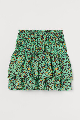 H&M Patterned Tiered Skirt - Green