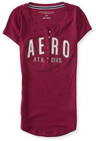 Aeropostale Womens Aero Athletic Division Ribbed Henley Shirt