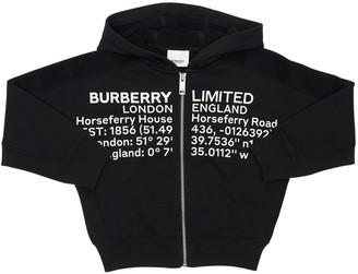 Burberry Printed Zip-Up Cotton Sweatshirt Hoodie