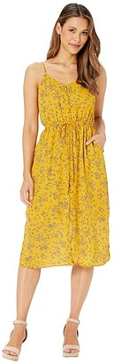 Cupcakes And Cashmere Annabel Tossed Buds Button Front Midi Dress (Harvest Gold) Women's Dress