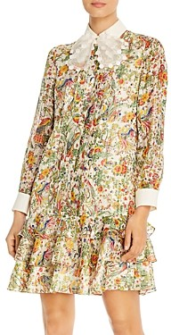 Tory Burch Printed Silk-Metallic Dress