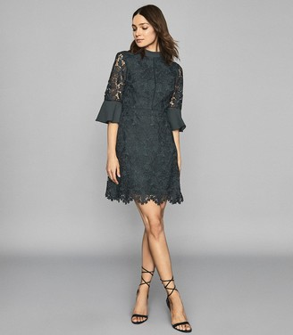 Reiss AGATHA FLUTE SLEEVE LACE DRESS Teal