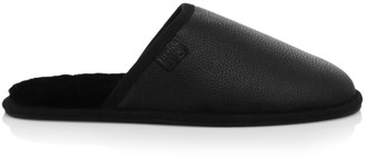HUGO BOSS Shearling-Lined Leather Slippers