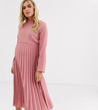 Asos DESIGN Maternity pleated high neck midi dress in tea rose