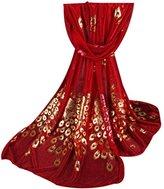 Chiffon Fashion Women Long Print Ninasill Scarf (Red)