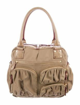 MZ Wallace Leather-Trimmed Nylon Shoulder Bag Gold