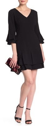 Laundry by Shelli Segal V-Neck Layered Bell Sleeve Dress