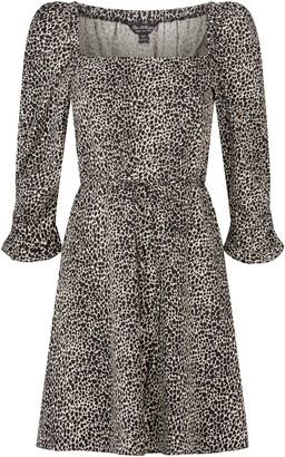 Miss Selfridge Black Animal Square Neck Fit And Flare Dress