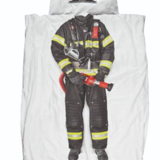 Snurk - 135 x 200cm Soft Cotton Firefighter Single Bed Duvet Set - soft cotton
