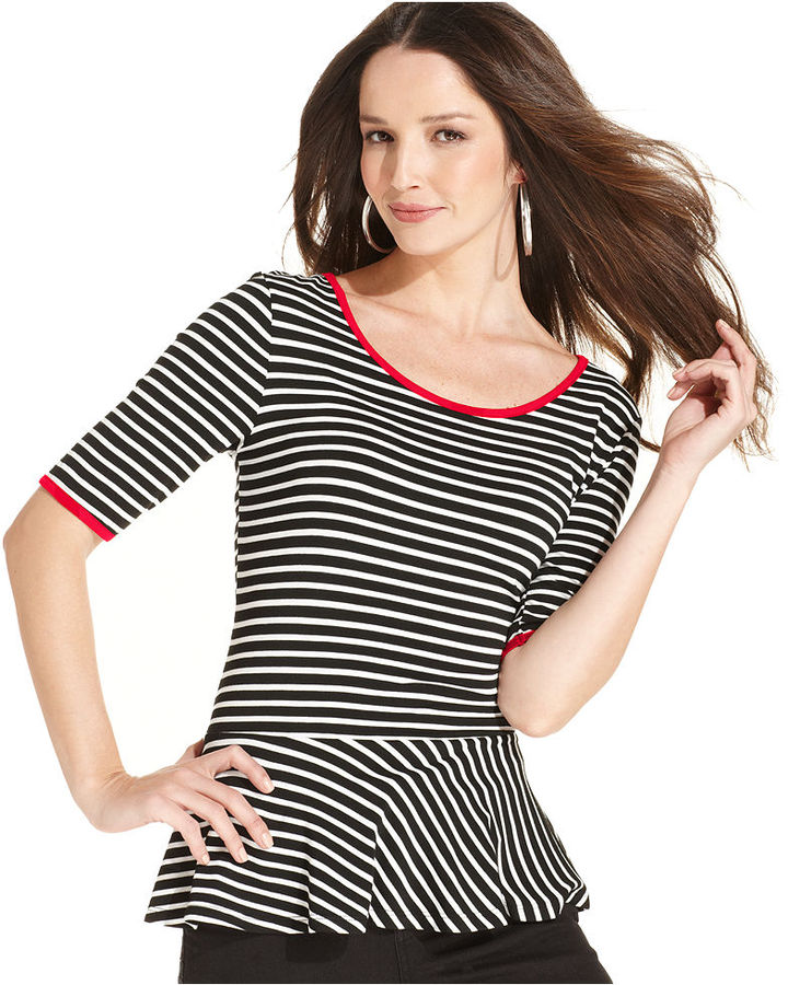Style&Co. Top, Short-Sleeve Striped Peplum