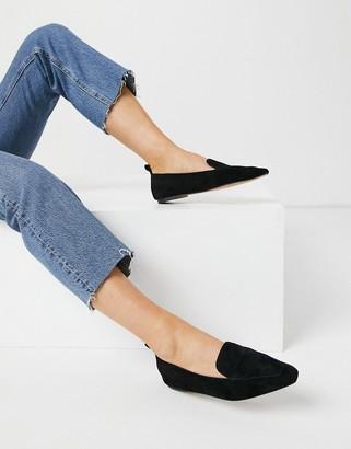 ASOS DESIGN Miley suede loafers in black