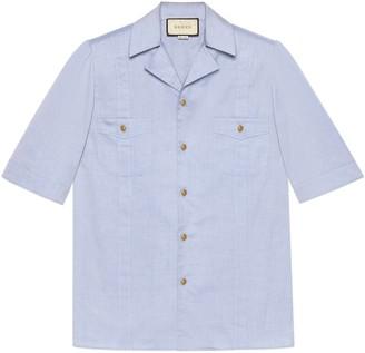 Gucci Short-sleeved Oxford cotton shirt