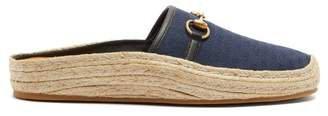 Gucci Gg Jacquard Backless Espadrille Loafers - Mens - Navy